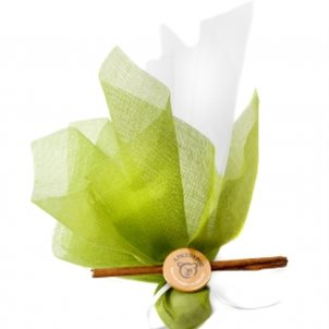 Image of product Handmade bomboniere with green tulle with badge of Arcturos